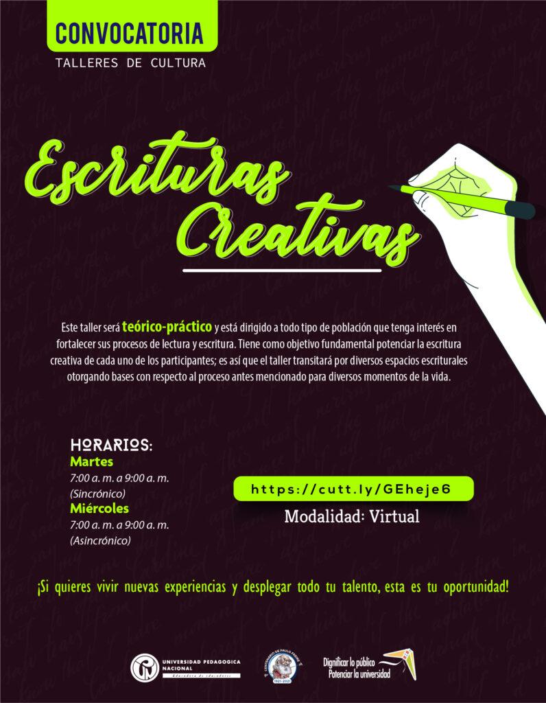 Inscripciones abiertas taller: Escrituras Creativas